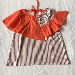 【 folk made 2018SS】No.7 flare stripe blouse / ピーチネイビー×オレンジ