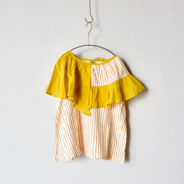 【 folk made 2018SS】No.7 flare stripe blouse / 生成レンガ×イエロー