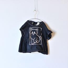 【 UNIONINI 18SS 】 cat blouse / black  / 80〜140cm   (BL-003)
