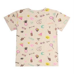 【 Soft Gallery 2018SS 】Bass T-shirt/ 008. Cream Melange, AOP Fun