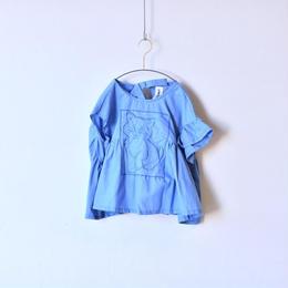 【 UNIONINI 18SS 】 cat blouse / blue  / 80〜140cm   (BL-003)