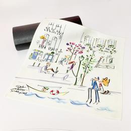 マイクロファイバー・アイグラスクリーニングクロス(メガネ拭き)【YUKI NAKAMURA  illustration】(パリの街並み)(鳥とコーヒー)