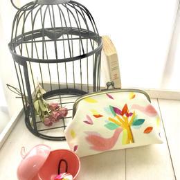 がま口ポーチ(ロワゾ)【鳥】