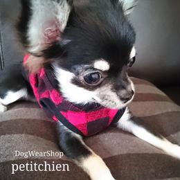 犬服★完成品 【 ブロックチェック   】レッド  胴まわり33cm