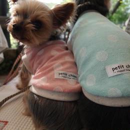 犬服 ★完成品【パイル水玉】 ピンク 胴まわり30cm