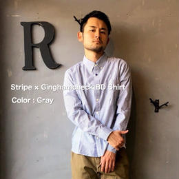 Stripe × Ginghamcheck BD Shirt 【GRAY】