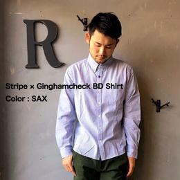 Stripe × Ginghamcheck BD Shirt 【SAX】