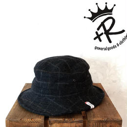 """+R """"ウールチェックワイヤーハット"""" Black"""