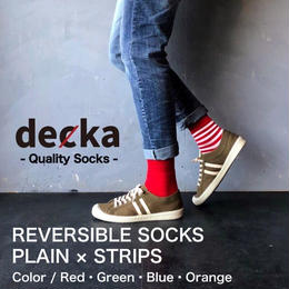 "decka ""REVERSIBLE SOCKS PLAIN×STRIPS"""