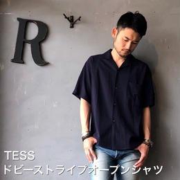 """TESS """"ドビーストライプオープンシャツ"""" Navy"""