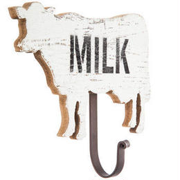 【USA直輸入】ウォールフック MILK 牛 木製 壁掛け フック  インテリア  ミルク