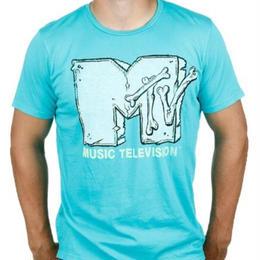 【USA直輸入】MTV Tシャツ ブルーグリーン ケーブルテレビ 海外Tシャツ