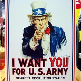 アメリカンブリキ看板 アンクル・サム -アメリカ陸軍募集看板-