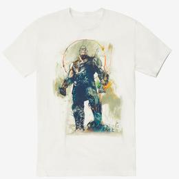 【USA直輸入】MARVEL アベンジャーズ インフィニティウォー サノス スケッチ ホワイト スプラッター Tシャツ Sサイズ ガントレット マーベル