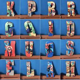 【USA直輸入】MARVEL アルファベット B~U  ブリキ看板 文字 ロゴ ブリキ 壁掛け インテリア