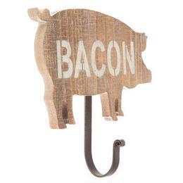 【USA直輸入】ウォールフック Bacon 豚 木製 壁掛け フック  インテリア  ベーコン ピッグ ブタ