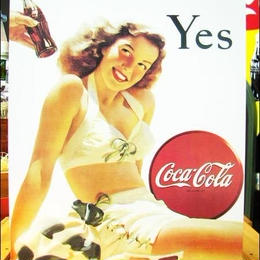 アメリカンブリキ看板 コカ・コーラ 白い水着