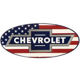 【USA直輸入】ブリキ看板 シボレー 星条旗フラッグ Chevrolet  Flag  メタルサイン ブリキ 看板  企業 ブリキ看板 ポスター