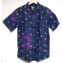 【USA直輸入】ギャラクシー エイリアン ボタンダウンシャツ シャツ 半袖  宇宙 宇宙人