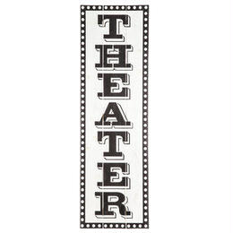 【USA直輸入】ウォールデコ シアター THEATER 白黒 木製 看板
