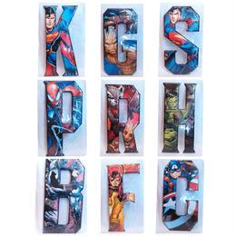【USA直輸入】MARVEL DC アルファベット ヒーロー  ブリキ看板 文字 ロゴ ブリキ 壁掛け インテリア  マーベル DCコミック