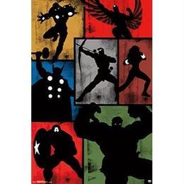 【USA直輸入】MARVEL マーベル アベンジャーズ シルエット ウッド ウォールデコ 看板 インテリア 壁掛け ポスター