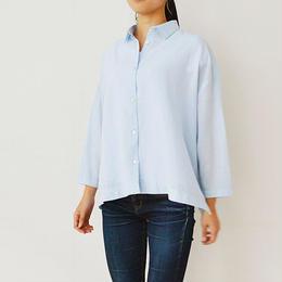 綿麻・製品染め・8分袖ワイドシャツ    (PH9206)