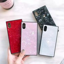 【即納】iPhoneケース スクエア 大理石風 シェル 四角 鏡面仕上げ 鏡面スクエア ミラーケース 6 6s 7 7plus 8 8plus X XS アイフォンカバー アイフォーンケース 携帯