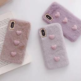 【即納】iPhoneケース ハート 秋冬 パープル グレー ベージュ iPhonexケース  iPhonexsケース XSケース 韓国 可愛い かわいい おしゃれ お洒落 iPhone7ケース 7