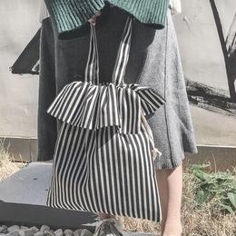 【即納】バッグ ストライプ柄 トートバッグ 韓国 韓国ファッション かばん 巾着 ストライプ シンプル ナチュラル ナチュラルファッション ハンドバッグ おしゃれ 通販 プチプラ 小物 韓国コーデ
