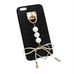 【即納】リボン ハート ラメ   iPhoneケース