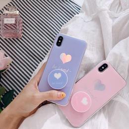 【即納】iPhoneケース ハート パステルカラー リング付き アイフォンケース iPhone 8 7 plus アイフォン ケース アイフォン8 アイフォン7 アイフォーン カバー 8plus