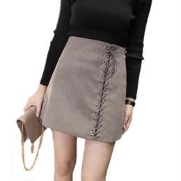 【即納】ミニスカート 編み上げ グレー
