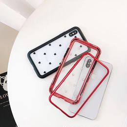 【即納】iPhoneケース ハート柄 ハート 磁石 シンプル 枠あり 枠 サイド バンパーケース バンパー アルミ iPhone6 iPhone6s 7 7プラス 8 8プラス iPhoneX XS