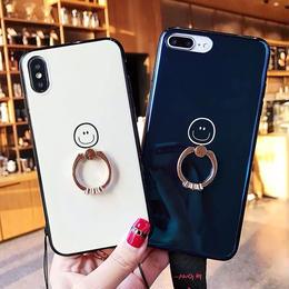 【即納】iPhoneケース スマイル キラキラ リング付き iPhone7ケース 8ケース シンプル 可愛い スタンド スマホスタンド スマホリング バンカーリング リング 落下防止 にこちゃん 韓国