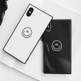【即納】iPhoneケース スクエア スマイル 四角 鏡面仕上げ 鏡面スクエア ミラーケース アイフォン7 アイフォン7プラス アイフォン8 アイフォン8プラス アイフォンX アイフォンXS 韓国
