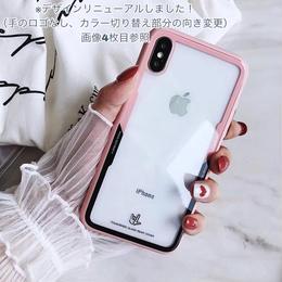 【即納】iPhoneケース クリア スケルトン バイカラー サイド カラー 黒 白 ピンク アイフォン7 アイフォン7プラス アイフォン8 アイフォン8プラス アイフォンX アイフォンXS 通販 韓国