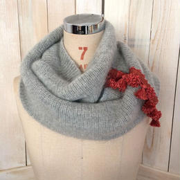 【SALE】mohair fringe snood grey