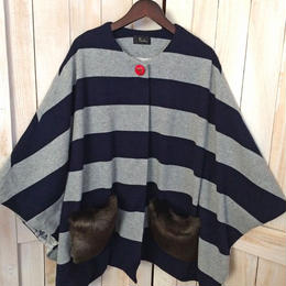 【SALE】fur pocket cape navy x grey