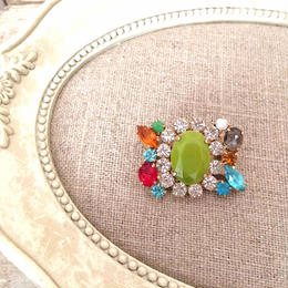 bijou brooch ③  green x multi