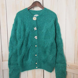 mohair cable Cardigan green
