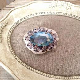 bijou print brooch blue grey