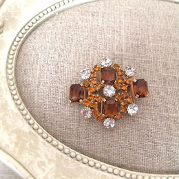 bijou brooch ④  brown x yellow x clear