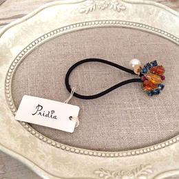 bijou hair elastic  orange blue  x black elastic