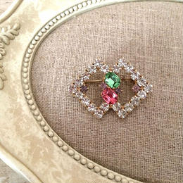 bijou brooch ③  green x pink square