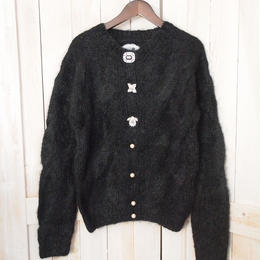 mohair cable Cardigan black