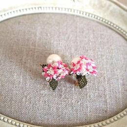 pearl flower Earrings pink bouquet flowers