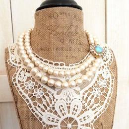 cotton pearl clasp necklace aquamarine