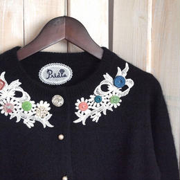 【1点物】antique lace Cardigan flower & ribbon lace