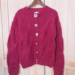 mohair cable Cardigan pink